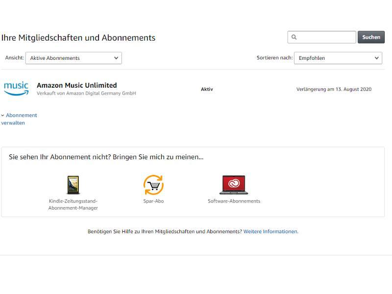 Amazon Music Unlimited Abo Übersicht