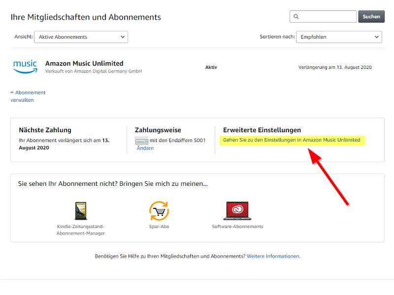 Amazon Music Unlimited Abo Übersicht_erweitere Einstellungen