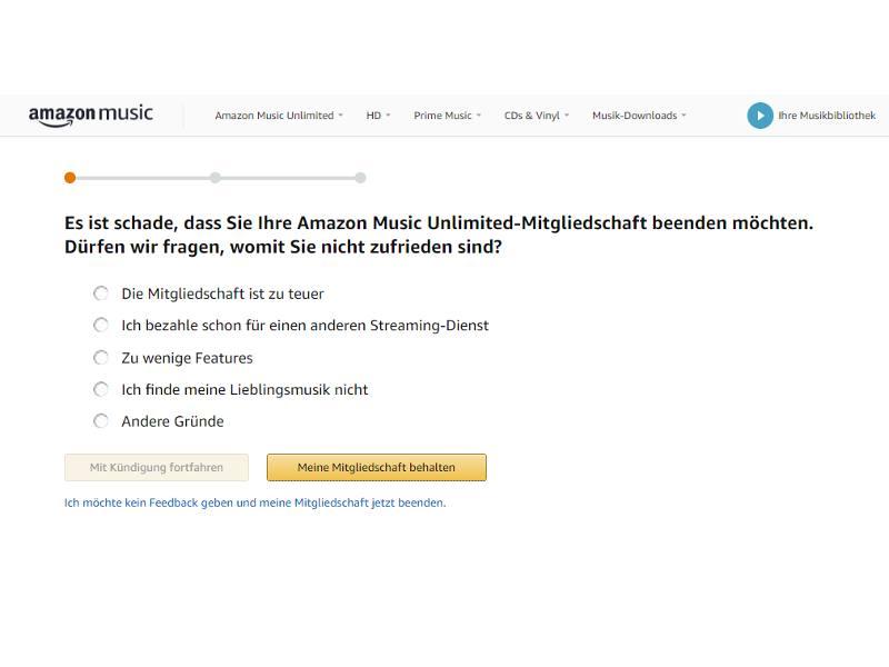 Amazon Music Unlimited Kündigung Grund angeben