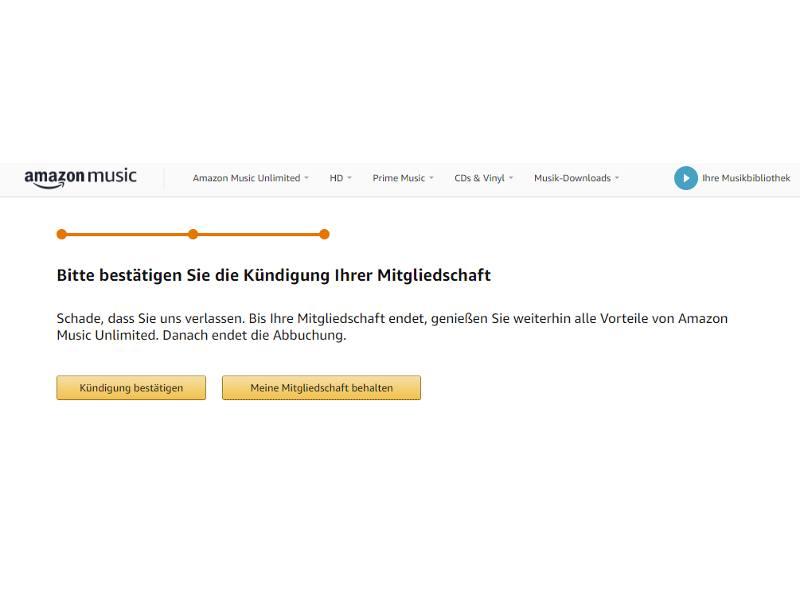 Amazon Music Unlimited Kündigung bestätigen