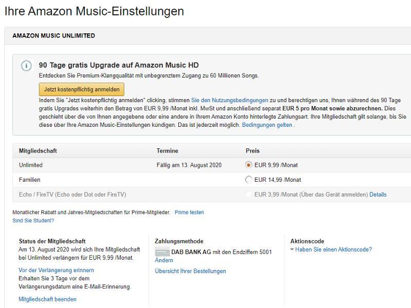 Amazon Music Unlimited Mitgliedschaft beenden